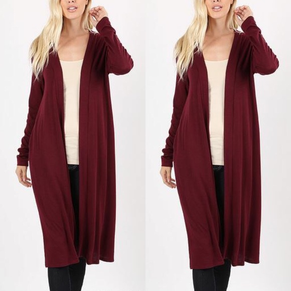 Zenana Outfitters Sweaters - 30% OFF 2/MORE REG & PLUS Duster Cardigan Burgundy